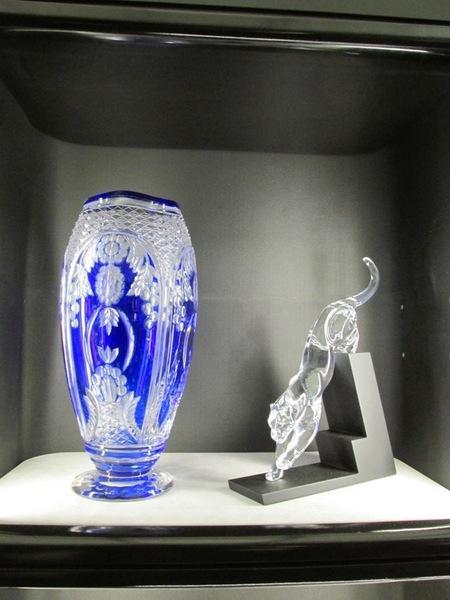 Vaso blu e tigre in cristallo for Vaso blu